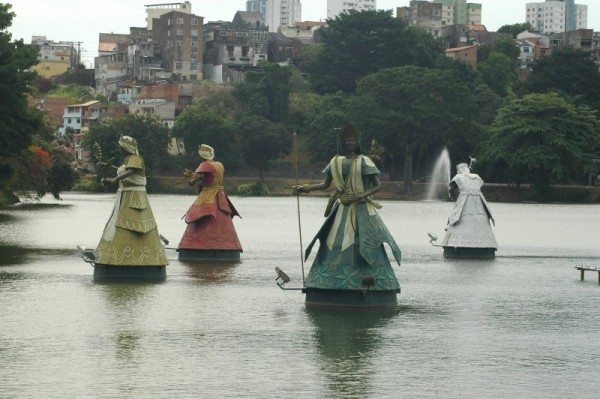 Tati Moreno's Orixá sculptures on the Dique do Tororó in Salvador da Bahia.