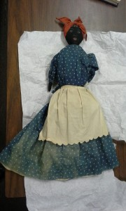 Mammy Topsy-Turvy Doll , 19th c., Valentine Richmond History Center.  Upon visual examination, we discovered this mammy doll had a surprise underneath the dress, an attached white doll (image on right), making this a Topsy-Turvy doll.