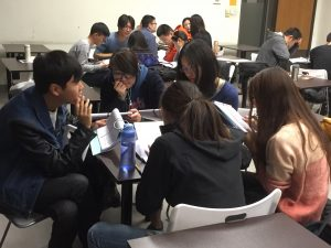 Students engaged in small group discussion