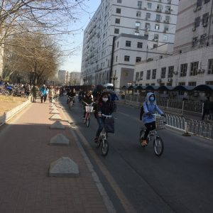 """""""rush hour"""" on the Tsinghua campus"""