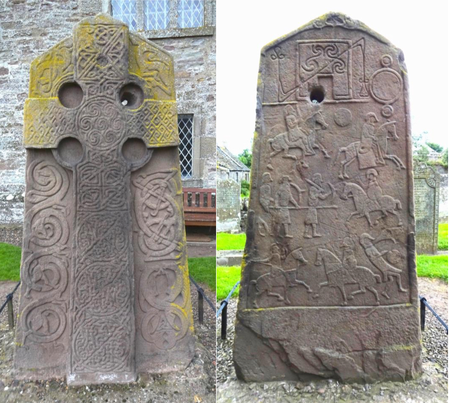 Aberlemno No. 2 still stands in the local kirkyard. During the winter months it is covered with a protective box. (Photos by author, 2016)