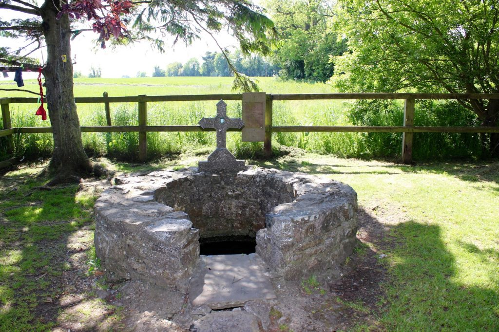 Located at the back of the axial site is St. Brigid's Well. To the left of the well is a clootie tree with colorful ribbons and pieces of cloth tied to its branches. Tully, County Kildare. Photograph taken by author on June 1, 2016.