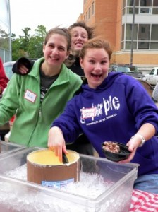 L-R: Paula Thelen, Audrey Anderson, and Christine Ertl enjoy scooping ice cream on the Morrison Patio
