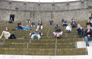 The group sitting in the Teater at Pompeii