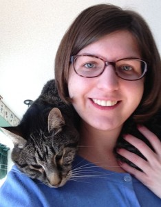 Angela Drennen and her cat Luddy (Ludwig).