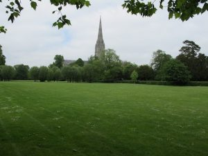 The view of Salisbury Cathedral from the summer cabin.