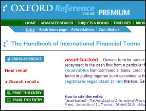 Oxford Handbook of International Financial Terms