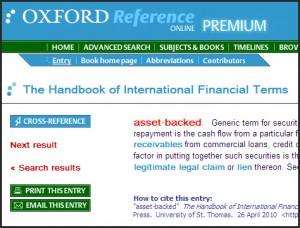 Oxford Handbook of International Financial Terms