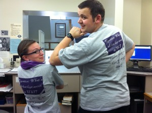 Student Workers modelling the new Ireland Library T-Shirt