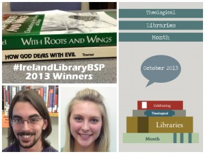 The 2013 Winners of Ireland Library's Book Spine Poetry Contest:  Andrea Bettschen and Sean Goossens!  Congrats!
