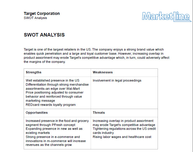 an overview of the swot analysis on target corporation in america Swot analysis of wal-mart executive summary this paper primarily undertakes a swot analysis on as a global retail company, wal-mart is an open target by.