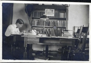 John Quinlan studying in his room in the Administration Building