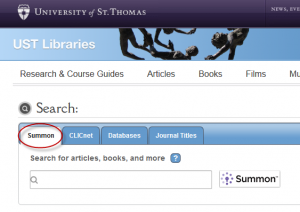Summon Search on Library Homepage