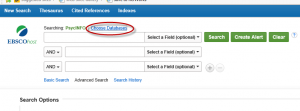 Choose Databases is located about the search boxes