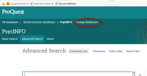 ProQuest's Change Databases is at the top of the page