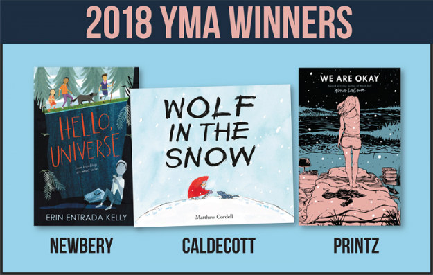 Image of 2018 Newbery, Caldecott, and Printz award winning books
