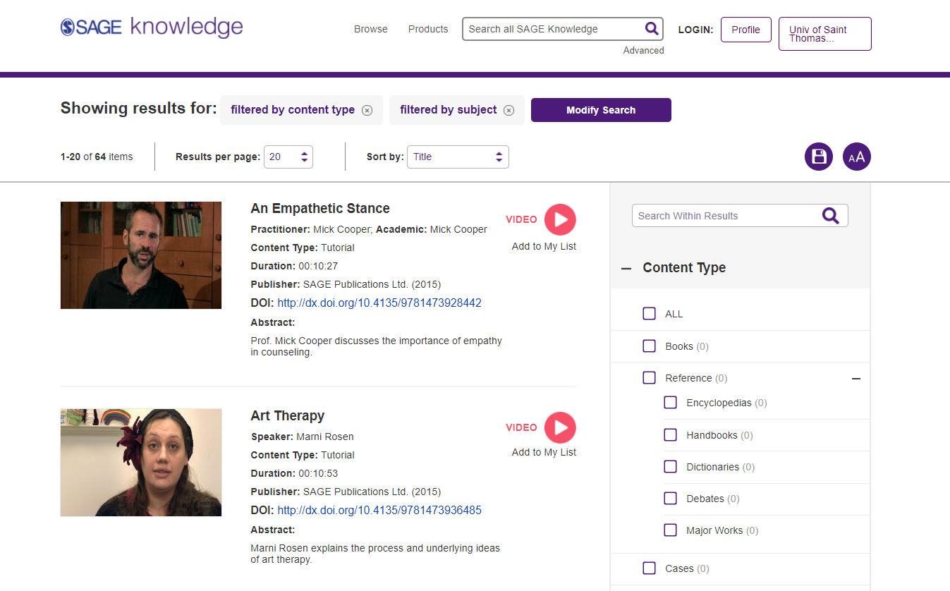 A sample search results screen from Sage Video Counseling & Psychotherapy Collection