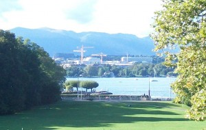 The UN Office at Geneva (formerly housing the League of Nations) commands a prominent place along the western shore of Lake Geneva.