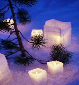 candles in snow