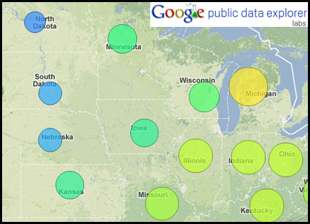 Unemployment rates in the Midwest. Cooler colors mean lower unemployment rates.