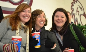 MBA fans Laura Hagen, Kelsey Luers, and Karine Korman root for the team (and film a commercial for Dairy Queen?)