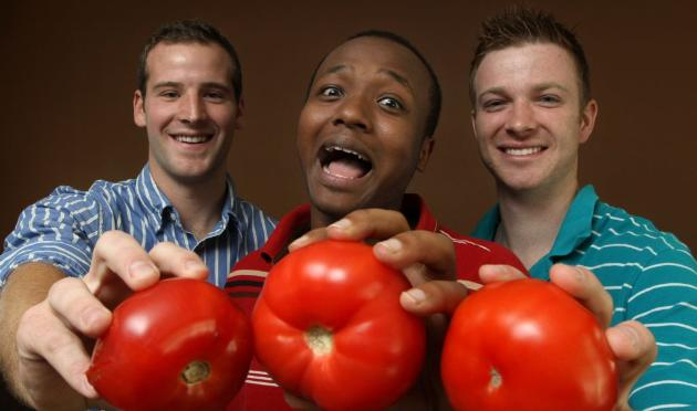 From left, Tom Broich of Plymouth, Kamal Mohamed of Minneapolis and Kevin Walker of Grand Rapids hope to replicate Spain's annual tomato fight in Afton. Photo by Bruce Bisping, Star Tribune