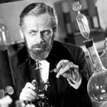 "Actor Paul Muni in the 1936 film ""The Story of Louis Pasteur."" Pasteur's skepticism about current beliefs about the origins of disease led to founding the science of microbiology, developing the process of pasteurization of milk, and curing anthrax among farm animals."