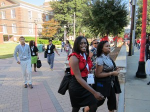 Day 1 of the 2011 NBMBAA Conference : LOT-Twin Cities students at the Clark Atlanta College Tour (Kameron at the far left; NiPre center, in red blouse; Marsalina at far right and mentor/chaperone Frances Woodson