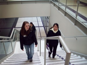 Fatima Vite learns about UST and the St. Paul campus with tour guide, Beth Cummins. Next fall, Fatima will be a junior and will continue touring campuses and preparing to apply for admission to colleges or universities.