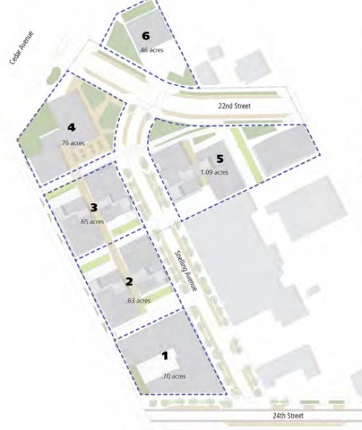 Seward Commons site map, showing planned development phases and infrastructure improvements to 22nd and 24th Streets (Source: Redesign)