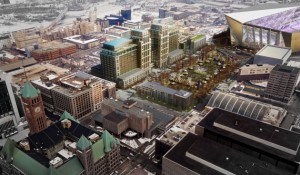"Architects rendering of 'Downtown East' - development on Star Tribune site, next to new Vikings stadium "" gameday aerial view' (Source: Star Tribune)"