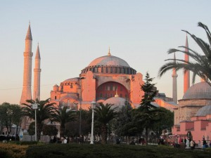The sun sets on the Hagia Sophia.