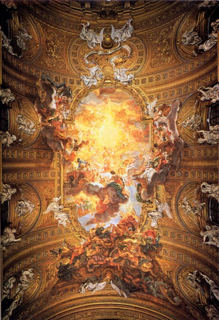 "The painting ""Triumph of the Name of Jesus"" by Baciccio, on the barrel-vaulted ceiling of Chiesa del Gesu.  Imagine sitting under this during Mass- it looks like the figures will fall out of the painting onto you."