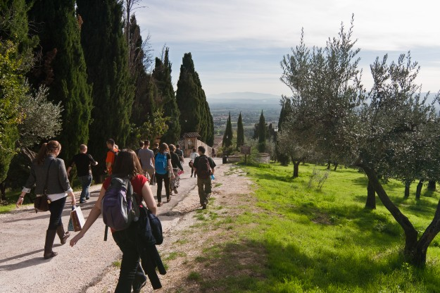 It was a real burden having to walk down this incredibly picturesque path through an olive orchard with the countryside spread out before us, but we bore it well.
