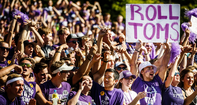 UST students cheer on the Tommies during the annual Tommie Johnnie football game at Clemens Stadium at Saint John's University in Collegeville, Minnesota, on September 26, 2015. St. Thomas won the game by a final score of 35-14.