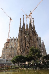 An exterior view of La Sagrada Familia