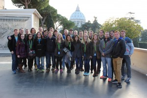 Our group in the Vatican gardens with the dome of St. Peter's in the background