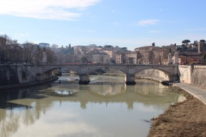 The view from the bridge as we crossed the Tiber river