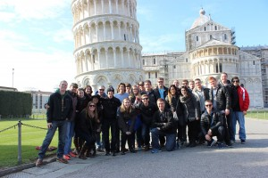 Our group in front of the Leaning Tower of Pisa