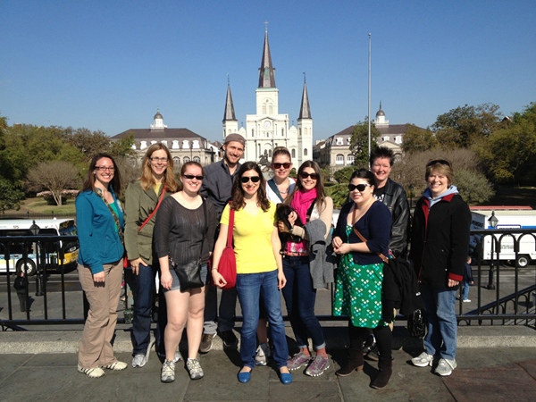 NOLA trip group photo in front of New Orleans Cathedral