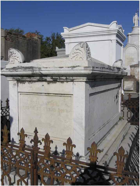 Henry Dick Tomb.  Probably designed by J.N.B. DePouilly.  Italian Marble.  St. Louis Cemetery #1,  New Orleans, LA, 2013.    Photo: Sandy Tomney