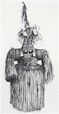 Tobias Schneebaum, Drawing of Spirit Mask