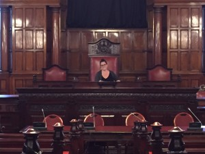 Heather seated in the Liverpool Town Hall Council Room