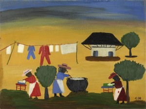 Clementine Hunter, The Wash, 1950s, Oil on board, 18 x 24 in. (45.7 x 61.0 cm)
