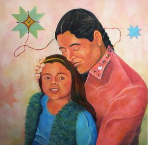 "Takúuŋkičhiyapi: wakháŋyeža owás thewíčhuŋȟiŋdapi (We are all related:  We all love our Children), Dakota Hoska, 2016, Oil on Panel, 36"" X 36, Recently shown in the ""Reframe Minnesota"" show"