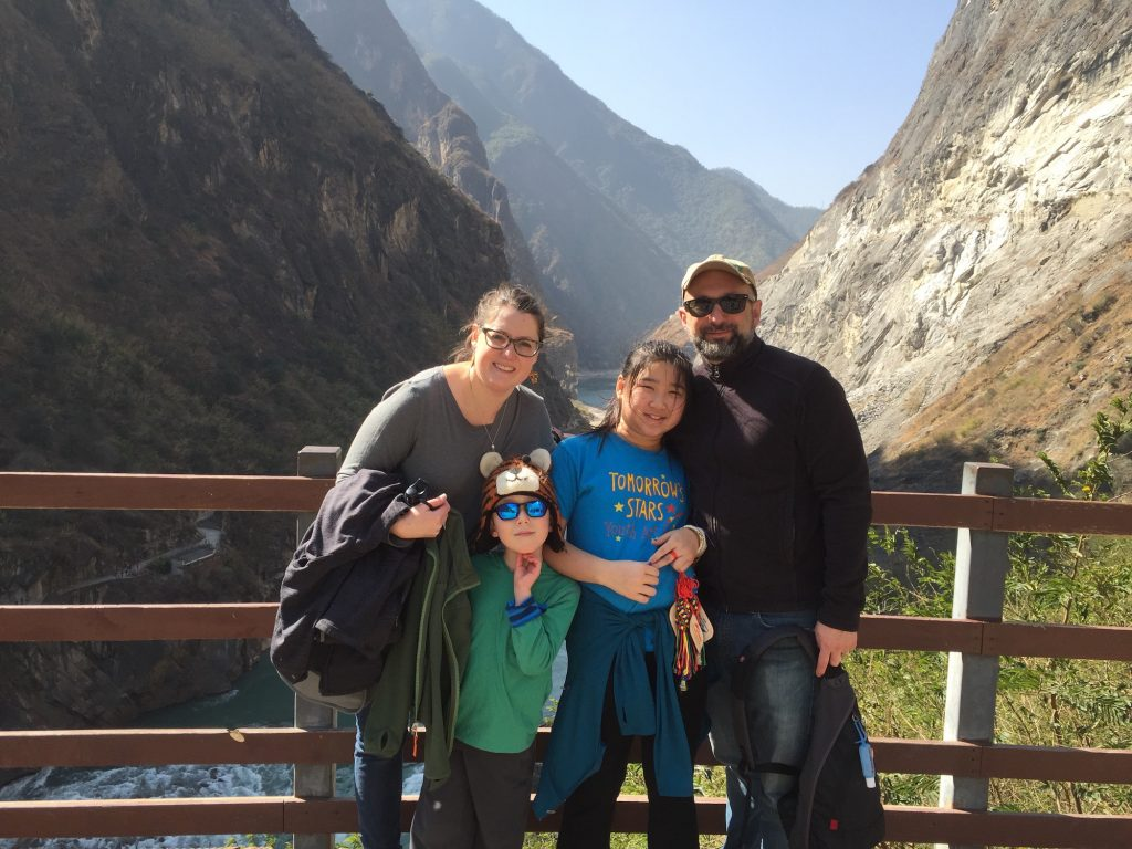 The Brooks-Shirey family at Tiger Leaping Gorge near Lijiang