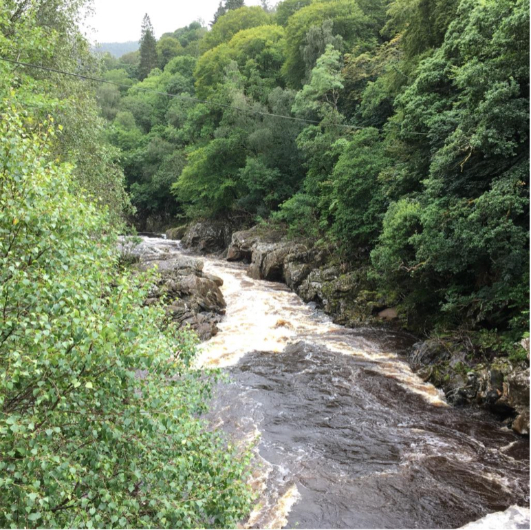 The River Gary near the Dunfallandy Stone's find site. (Photo by author, 2016)