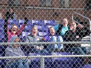 Fellow CS students cheer their friends on from the stands