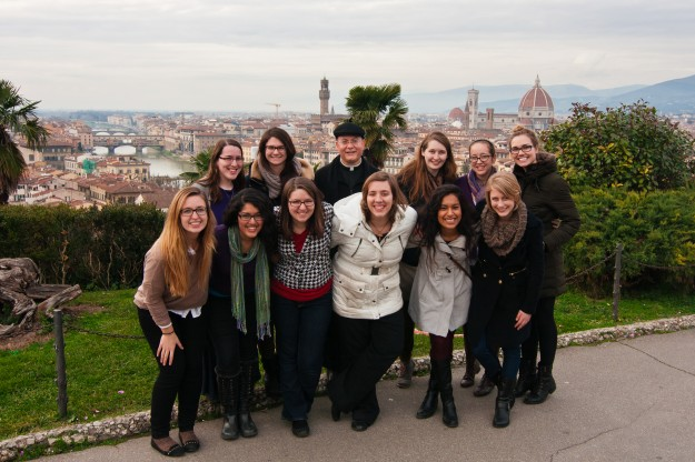 Our group picture from Florence where Fr. Carola took us women on a day trip shortly before the end of the semester.