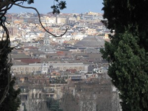 Wonderful view of Rome!  On the right, next to the tree you can see the Pantheon (the large dome)
